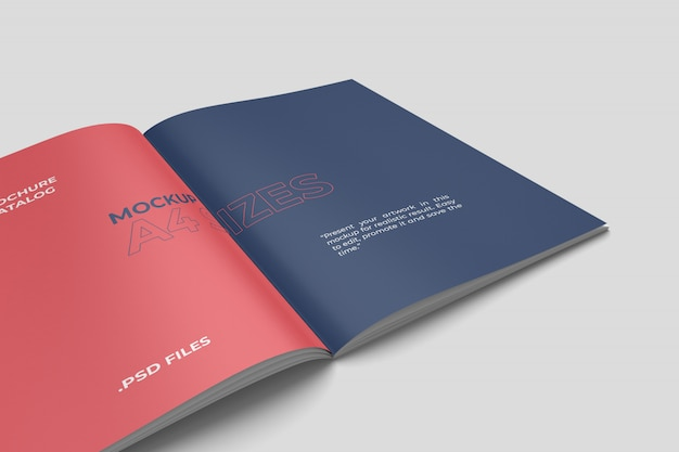 Geöffnetes nahaufnahme-a4-broschürenmodell
