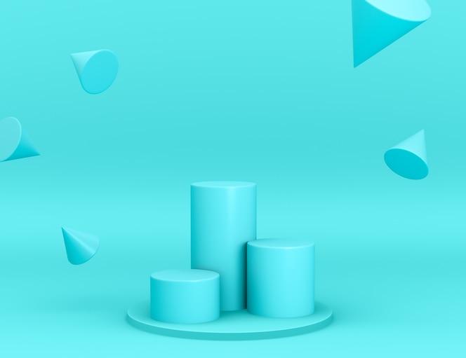 Geometrische 3d-cyan-podien für die produktplatzierung mit kegeln in levitation und bearbeitbarer farbe