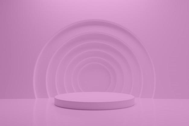 Geometrische form minimalistische podium 3d-innenszene mit bearbeitbaren farben