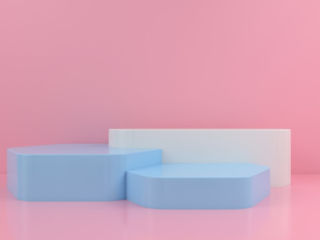 Geometrische form weiß blau podium display mockup