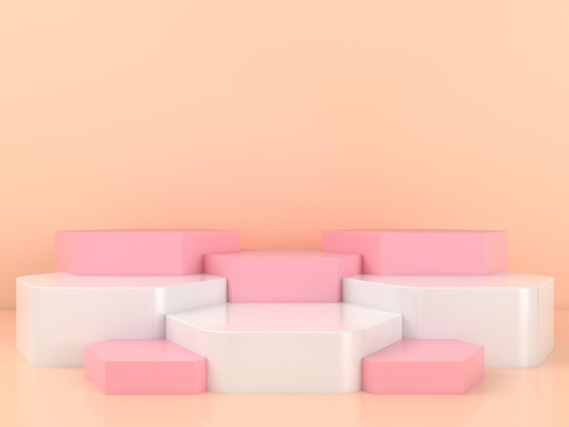 Geometrische form white pink podium display mockup