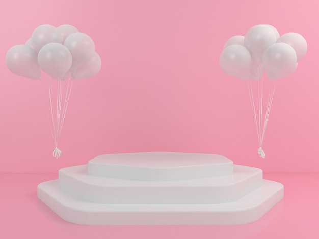 Geometrische form white podium display ballon mockup