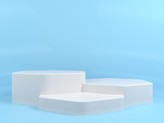Geometrische form white podium display mockup