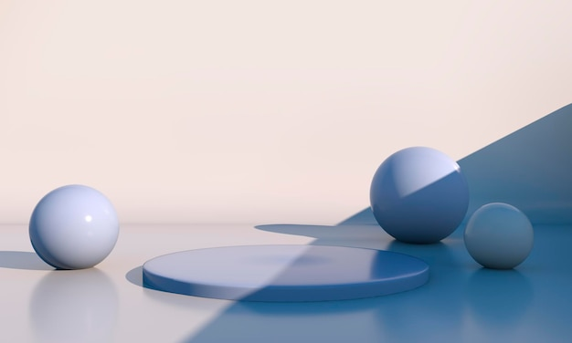 Geometrische formen, podium und kugeln in 3d-rendering