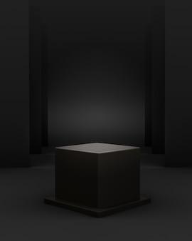 Geometrische schwarze 3d-szene mit würfelpodest und bearbeitbarem licht für produktplatzierung
