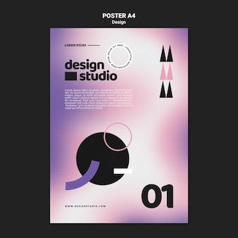 Geometrische vertikale plakatschablone für designstudio