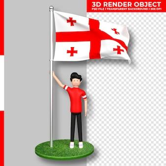 Georgia-flagge mit niedlichen menschen-cartoon-figur. tag der unabhängigkeit. 3d-rendering.