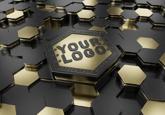 Geprägtes logo auf hexagon pedestal mockup