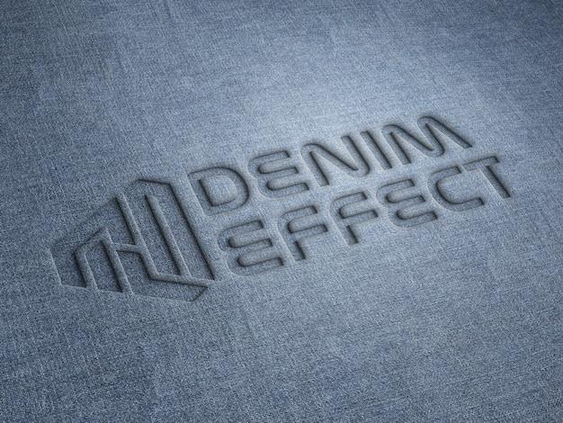 Geprägtes logo-modell auf jeansstoff