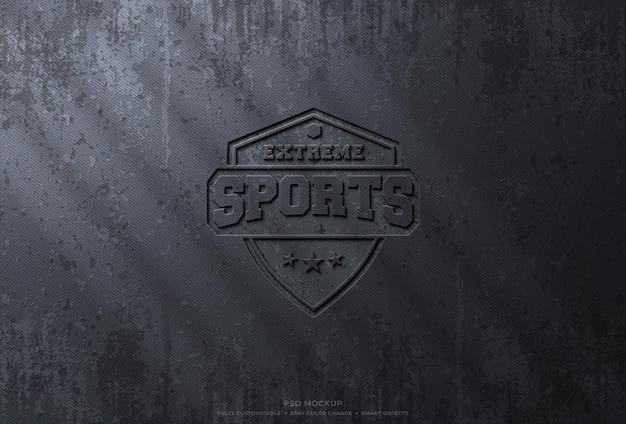 Gepresstes logo-modell auf rauer grunge-oberfläche Premium PSD