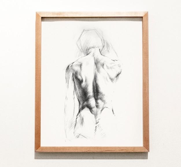 Gerahmte skizze eines mannes zurück