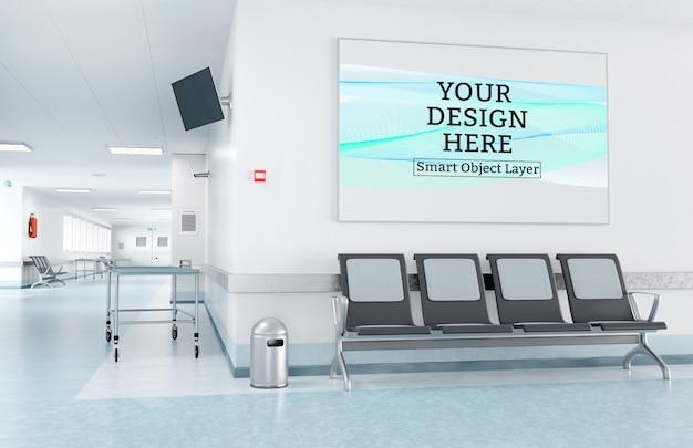 Gerahmter druck im krankenhaus-wartezimmer-modell