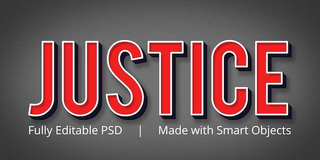 Gerechtigkeit bearbeitbarer photoshop-textstileffekt