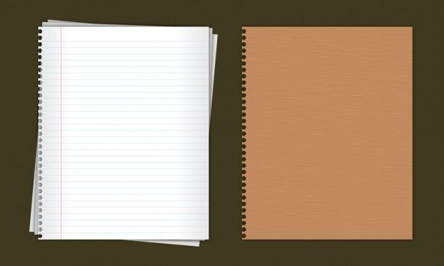 Gesäumt papier notebook in psd
