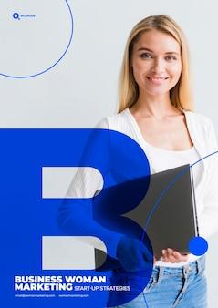 Geschäftsfrau auf marketing-inhaltsschablone