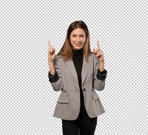 Geschäftsfrau, die mit dem zeigefinger eine großartige idee zeigt