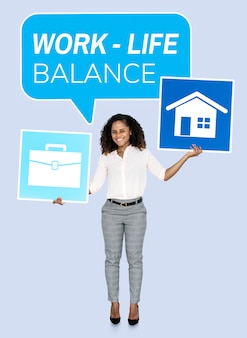 Geschäftsfrau, die nach einer work-life-balance sucht
