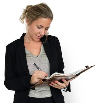 Geschäftsfrau document working portrait konzept