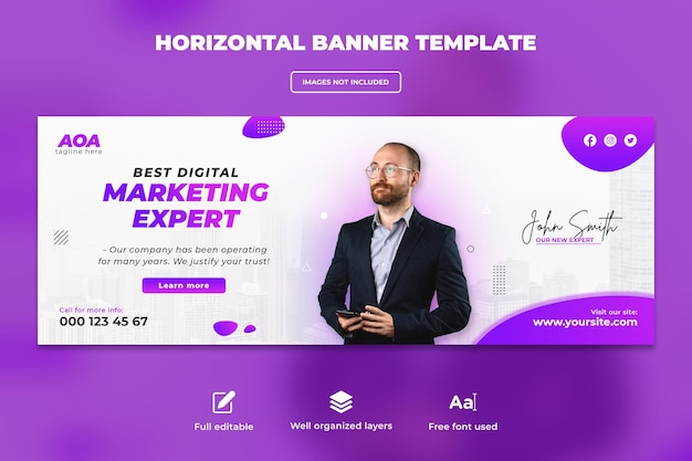 Geschäftskonferenz über digitales marketing-webbanner oder horizontales flyer-vorlagendesign