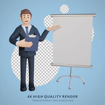 Geschäftsmann, der auf einer 3d-charakterillustration des leeren weißen blattcharakters vorstellt