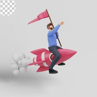 Geschäftsmann, der auf raketengeschäftskonzept fliegt