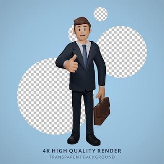 Geschäftsmann, der daumen hoch gibt, posieren charakter 3d-charakterillustration