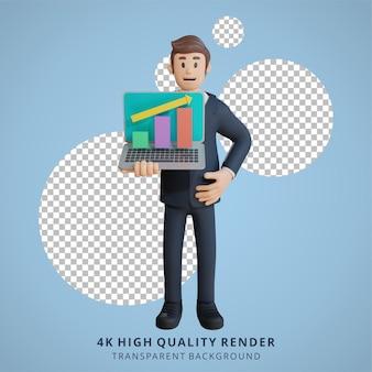 Geschäftsmann, der diagramm auf der charakterillustration des laptopcharakters 3d zeigt