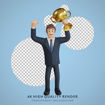 Geschäftsmann, der eine trophäenfigur 3d-charakterillustration hält