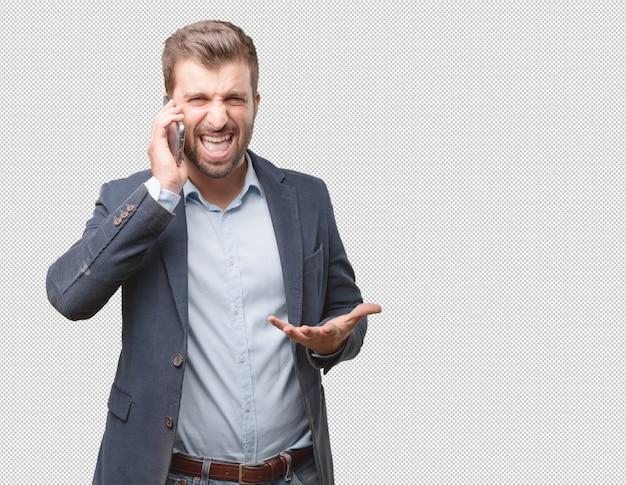 Geschäftsmann, der telefonanruf macht