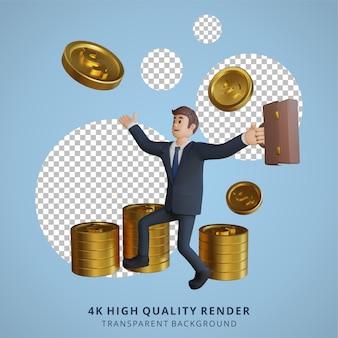 Geschäftsmann glücklich hat viel geld charakter 3d-charakterillustration