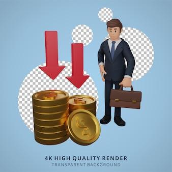 Geschäftsmann glücklich mit währungserhöhung charakter 3d-charakterillustration