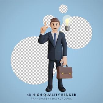 Geschäftsmann hat brillante ideen charakter 3d-charakterillustration