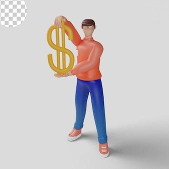 Geschäftsmann mit großer abbildung des dollarzeichens 3d