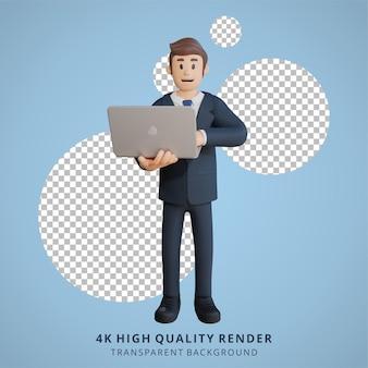 Geschäftsmann mit laptop-charakter 3d-charakterillustration