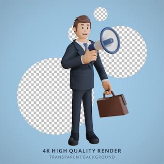 Geschäftsmann mit megaphon charakter 3d-charakterillustration
