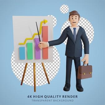 Geschäftsmann präsentiert diagrammcharakter 3d-charakterillustration