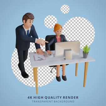 Geschäftsmann und frau, die in der 3d-charakterillustration des bürocharakters arbeiten