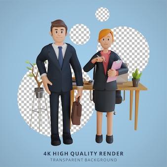 Geschäftsmann und frau stehen bei der arbeit charakter 3d-charakterillustration