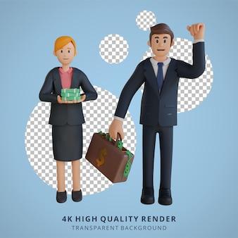 Geschäftsmann und frauen bringen viel geld charakter 3d-charakterillustration