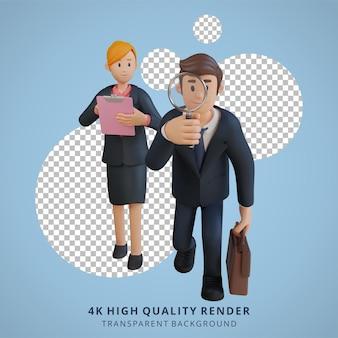 Geschäftsmann und frauen, die nach einer 3d-charakterillustration des lösungscharakters suchen