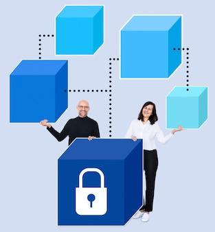 Geschäftspartner mit einer sicheren blockchain