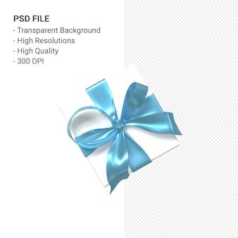 Geschenkbox 3d mit blauem band und schleife