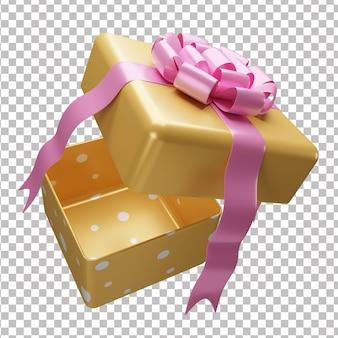 Geschenkbox der öffnung 3d mit bogen