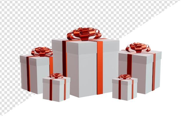 Geschenkbox in mehreren größen mit transparentem hintergrund