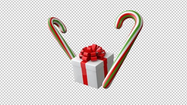Geschenkbox mit roter schleife und lutscher 3d illustration Premium PSD