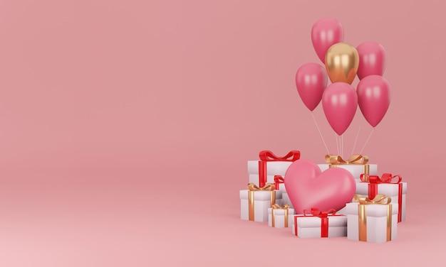 Geschenkbox und herz mit minimalem designkonzept