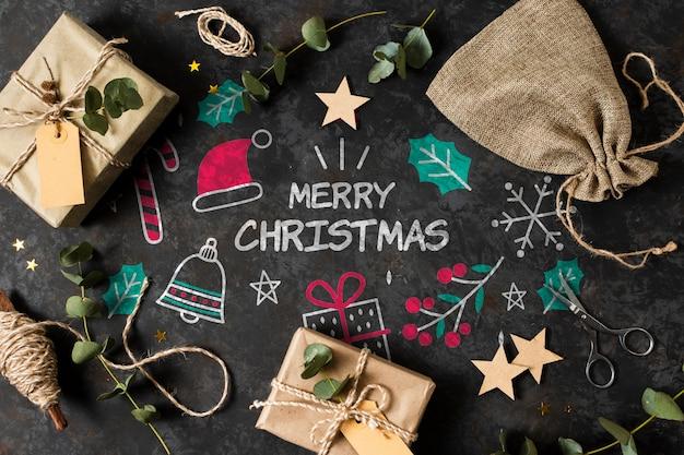 Geschenke auf gezeichneter tabelle mit weihnachtsthema