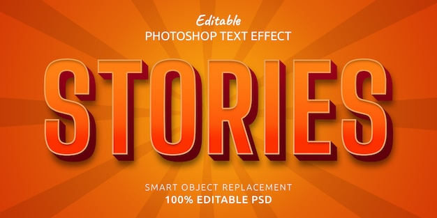 Geschichten bearbeitbarer photoshop-textstileffekt
