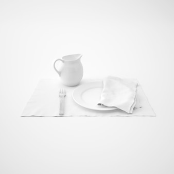 Geschirr, gabel und serviette