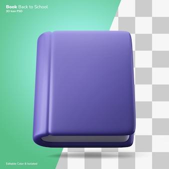 Geschlossenes buch schwebende 3d-rendering-symbol bearbeitbare farbe isoliert